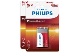 2PK Philips Alkaline Single Use Battery 9V Block 6LR61 Long Lasting Batteries
