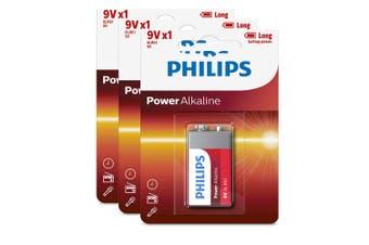 3PK Philips Alkaline Single Use Battery 9V Block 6LR61 Long Lasting Batteries