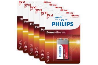 6PK Philips Alkaline Single Use Battery 9V Block 6LR61 Long Lasting Batteries