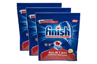 Finish 159 Tabs All in 1 Powerball Max Dishwashing Lemon Detergent f/ Dishwasher