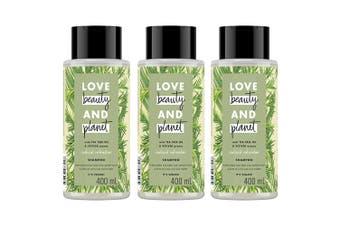 3x Beauty & Planet 400ml Vegan Shampoo Hair Care w/Tea Tree Oil/Vetiver