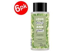 6x Beauty & Planet 400ml Vegan Shampoo Hair Care w/Tea Tree Oil/Vetiver