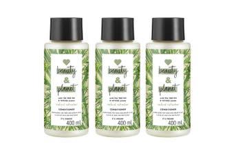 3x Beauty & Planet 400ml Vegan Conditioner Hair Care w/Tea Tree Oil/Vetiver