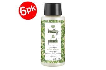 6x Beauty & Planet 400ml Vegan Conditioner Hair Care w/Tea Tree Oil/Vetiver