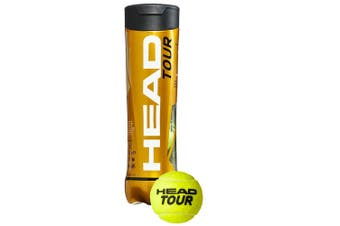 4pc Head Tour Championship Tennis Balls Tube/Case f/ Tournament/Club/Training