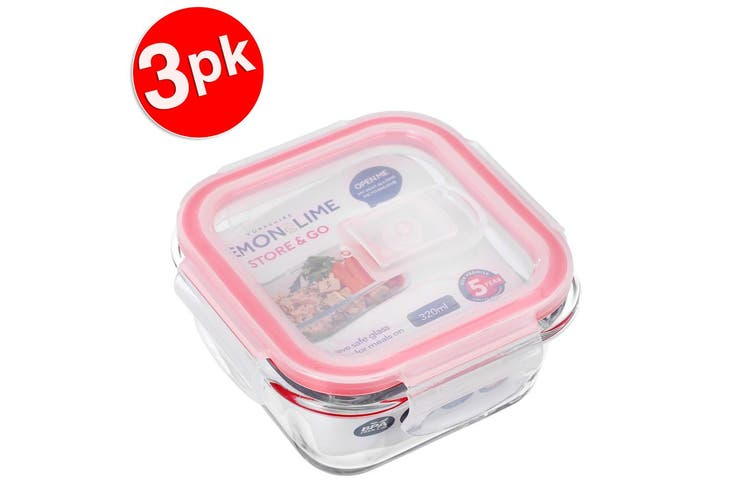 3x Lemon & Lime Yorkshire Store & Go 320ml Square Glass Food Storage Container