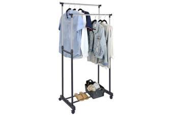 Box Sweden 160cm Double Garment/Clothes Height Adjustable Hanger Rack w/ Wheels
