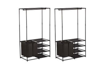 2x Box Sweden 4 Tier Wardrobe Organiser/Garment/Shirts Storage w/ Laundry Bag BK
