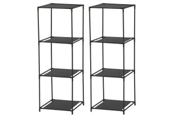 2PK BoxSweden 3 Compartment Storage Shelf Standing Rack Clothes Organiser Black