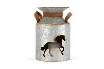 Galvanised Metal 26cm Churn w/ Horse Cut-Out Home/Room Decor Candle Holder Grey