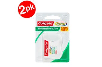 2x100m Colgate Total Mint Waxed Dental Floss/Flossers Teeth/Oral Care Value Pack