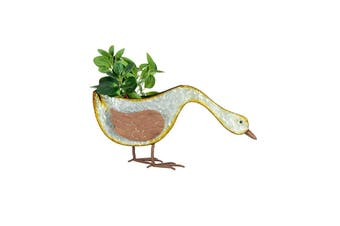 Galvanised Rust 50cm Dabbling Duck Pot Planter/Container Home Garden Decor Grey