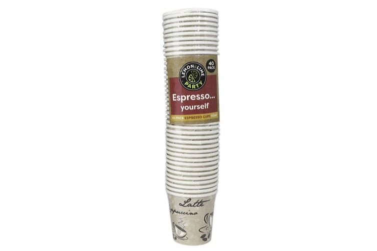40PK Lemon & Lime 115ml Espresso Paper Cups Disposable Drink Cup Assorted Design