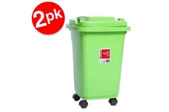 2x BoxSweden 32L 55cm Heavy Duty Wheelie Waste/Rubbish/Toys Storage Bin Assorted