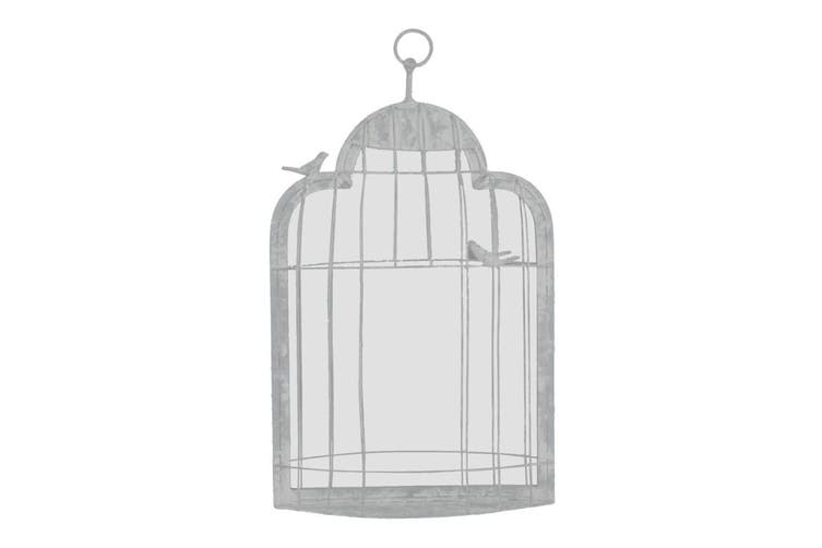 Decorative Birdcage 60cm Metal Wall Mirror Hanging Home/Living Room Decor White