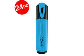 2x 12pc Maped Fluo Neon Highlighter 1-4mm Chisel Nib Inkjet Safe Marker Blue