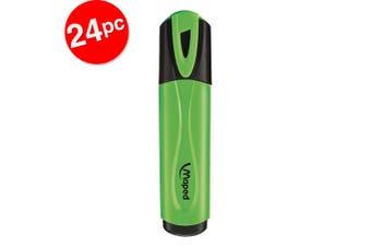 2x 12pc Maped Fluo Neon Highlighter 1-4mm Chisel Nib Inkjet Safe Marker Green