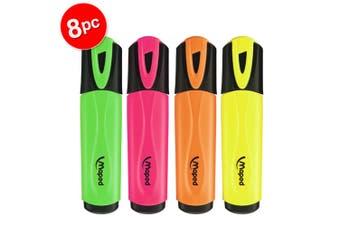 2x 4pc Maped Fluo Neon Highlighter 1-4mm Chisel Nib Inkjet Safe Marker Assorted