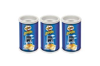 3x Helix Pringles Single Hole Pencil Sharpener School/Office Salt & Vinegar Blue