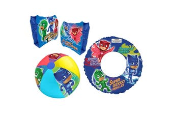 3pc PJ Masks Floating Inflatable Kids Water Swimming Pool Armbands/Ring/Ball Set