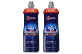 2x Finish 800ml Dishwashing Rinse Aid Shine/Protect Shiny/ Drier/Drying Dishes