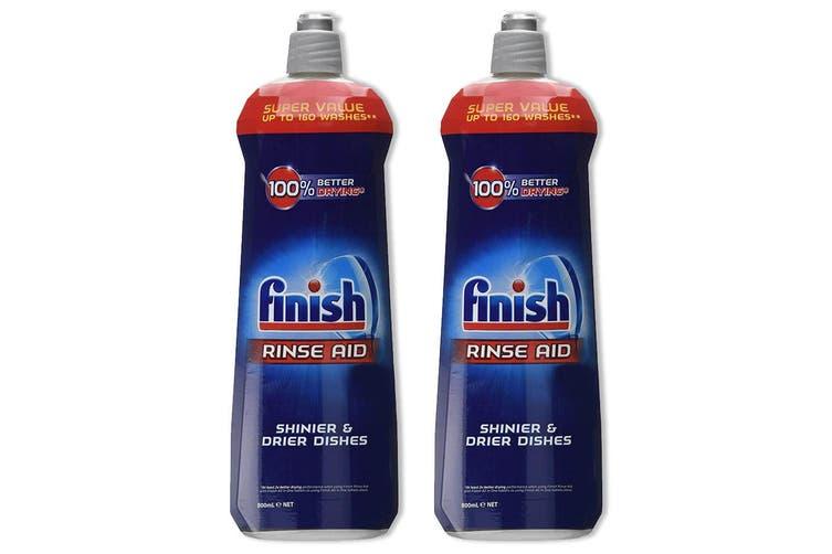 2x Finish 800ml Dishwashing Rinse Aid Shine/Protect Shiny/ Drier/Drying Dishes