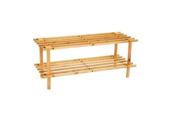 BoxSweden 2 Tier 70cm Wooden Shoe Rack Wood Storage Home Organiser Stand Brown