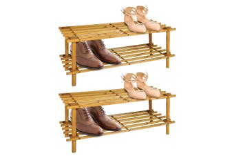 2PK BoxSweden 2 Tier 70cm Wooden Shoe Rack Wood Storage Home Organiser Stand BR