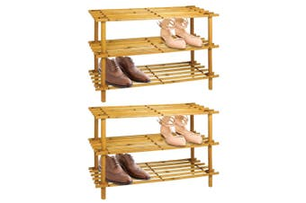 2PK BoxSweden 3 Tier 74cm Wooden Shoe Rack Wood Storage Home Organiser Stand BR