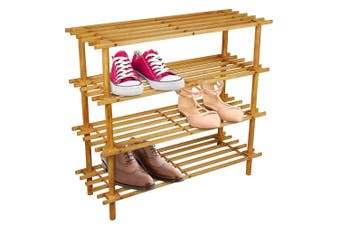 BoxSweden 4 Tier 74cm Wooden Shoe Rack Wood Storage Home Organiser Stand Brown