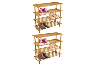 2PK BoxSweden 4 Tier 74cm Wooden Shoe Rack Wood Storage Home Organiser Stand BR