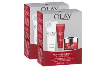 2x Olay Women Regenerist Anti-Ageing Face Cleanser/Pre-Essence/Cream Starter Kit