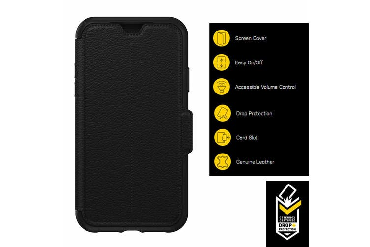 Otterbox Strada Folio Leather Case Cover for iPhone XR Wallet Card Slot Shadow