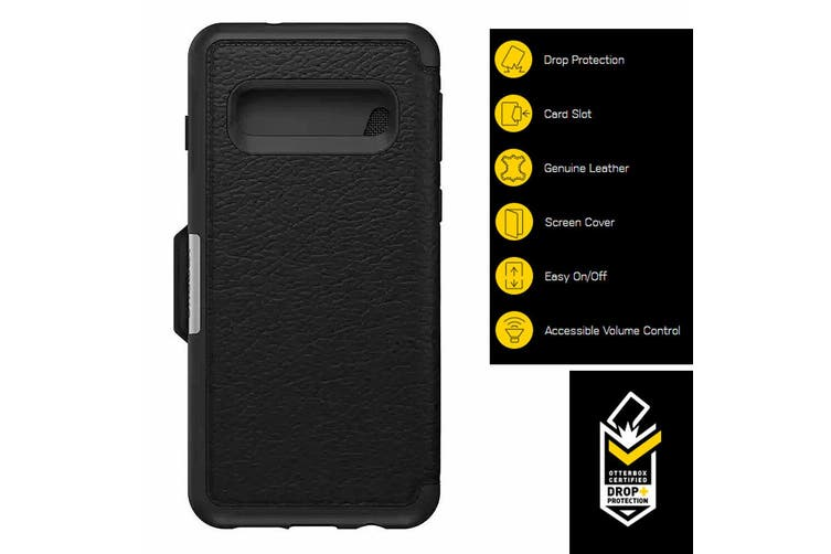 Otterbox Strada Protective Leather Case Cover f/ Samsung Galaxy S10 Shadow Black