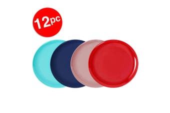 12pc Lemon & Lime 20cm Reusable Plastic Melamine Side Plate/Picnic Asst. Colour