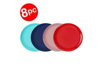 8pc Lemon & Lime 20cm Reusable Plastic Melamine Side Plate/Picnic Assort. Colour