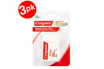 3x 50m Colgate Total Waxed Dental Floss/Flossers Teeth/Mouth/Oral Care