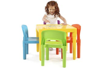 Coloured Kids/Children Play Table & 4 Chairs Plastic Furniture Set 3-8y