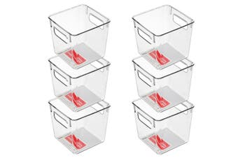 6x BoxSweden Crystal Plastic Storage Container 15cm MED Fridge/Pantry Organiser