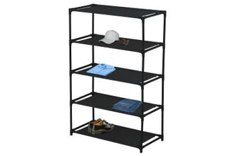 Box Sweden 5 Tier Storage Shelf Shoe/Clothes Holder Home Organiser Rack Black