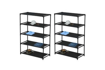 2x Box Sweden 5 Tier Storage Shelf Shoe/Clothes Holder Home Organiser Rack Black