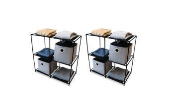 2x BoxSweden 4 Section 70cm Storage Shelf Garment/Footwear/Accessories Organiser