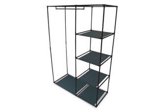 Box Sweden 4 Shelf Wardrobe Organiser w/ Hanging Rack Clothes Storage Black