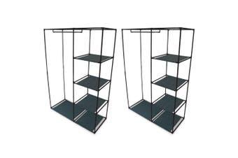 2PK Box Sweden 4 Shelf Wardrobe Organiser w/ Hanging Rack Clothes Storage Black