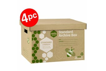 4pc Marbig Standard Archive Documents/Files Storage Cardboard Box Moving w/ Lid