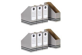 8PK Marbig School/Office Desk Magazine/Books Rack Holder/Organiser/Storage Grey
