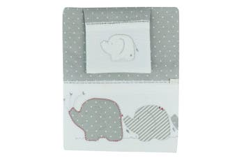 3pc Bubba Blue Cotton Petit Elephant Cot Bedding Sheet Set Baby/Infant Grey/Red