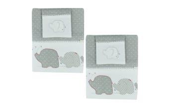 6pc Bubba Blue Cotton Petit Elephant Cot Bedding Sheet Set Baby/Infant Grey/Red