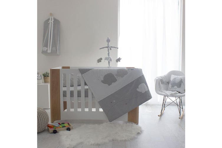 6pc Bubba Blue Cotton Petit Elephant Cot Bedding Sheet Set Baby/Infant Grey/Red