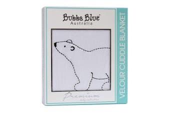 Bubba Blue Polar Bear Velour Cuddle Blanket Cotton Baby/Infant Cover/Wrap White